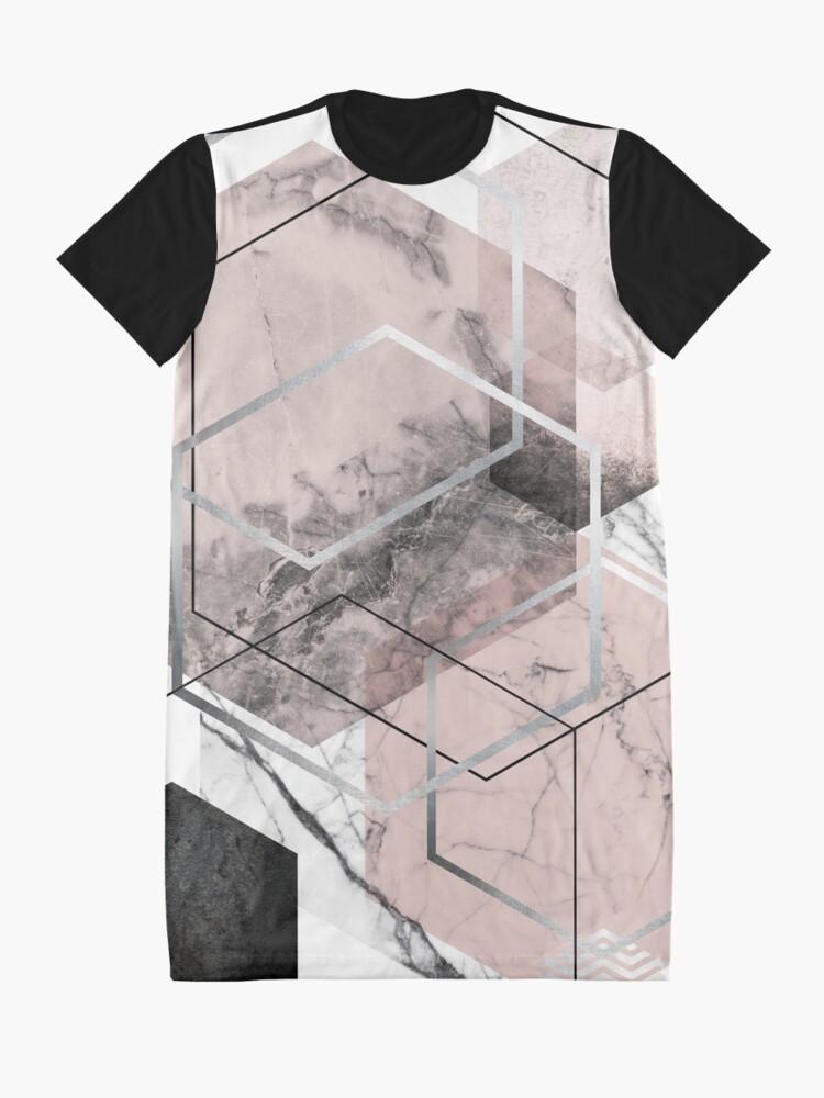 Alternate view of Blush and Grey Geometric Graphic T-Shirt Dress