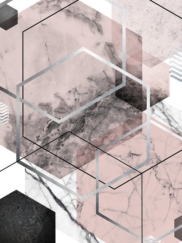 Blush and Grey Geometric by UrbanEpiphany