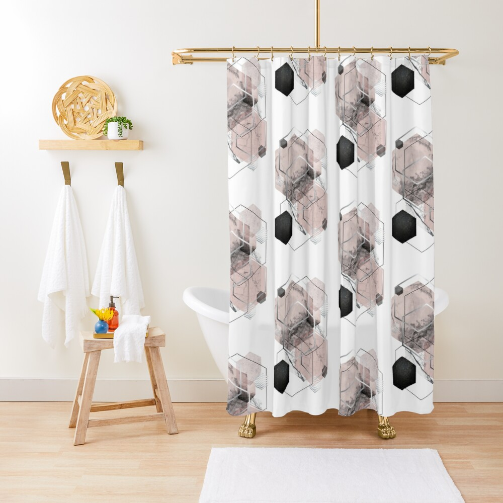 Blush and Grey Geometric Shower Curtain
