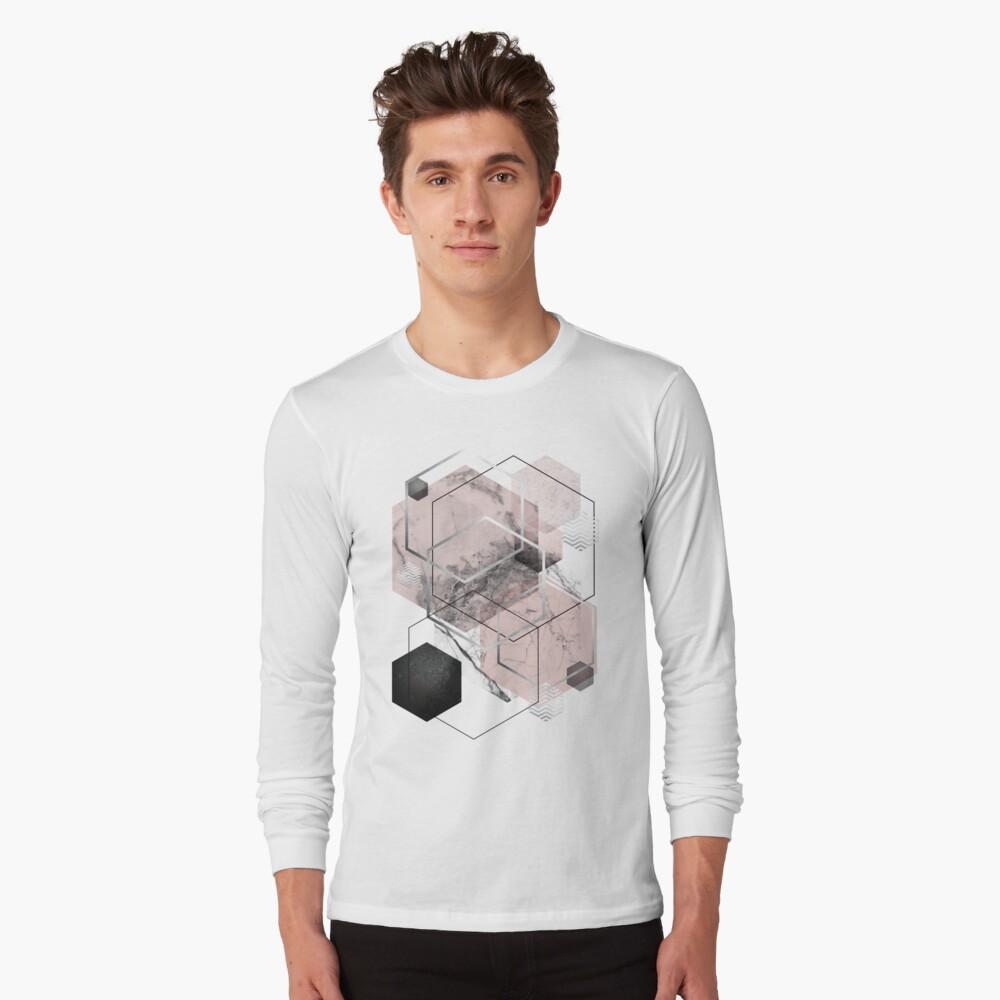 Blush and Grey Geometric Long Sleeve T-Shirt