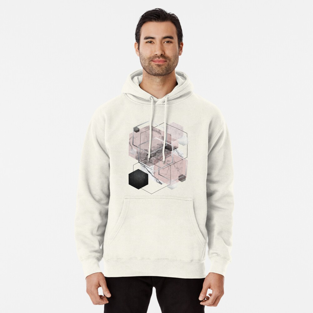 Blush and Grey Geometric Pullover Hoodie