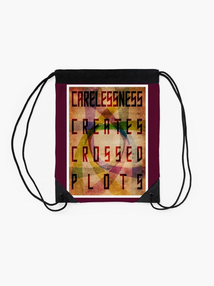 Alternate view of Careless Creates Crossed Plots Drawstring Bag