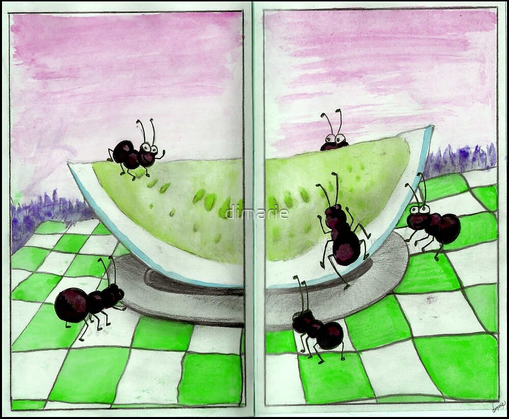 Watermelon Green Ant Picnic by dimarie