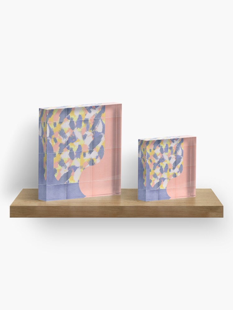 Alternate view of Messy Painted Tiles 03 #redbubble #midmod Acrylic Block