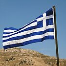Greek national flag on Tilos island by David Fowler