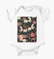 Dancing Horse with Red Rose Flower in Black Background Pattern Kids Clothes