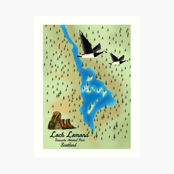 Loch Lomond,Trossachs National Park, Scotland travel map Art Print