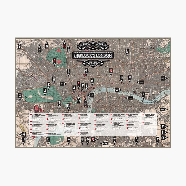 Sherlock's London. Map of all the London literary locations from the Sherlock Holmes novels.. Photographic Print