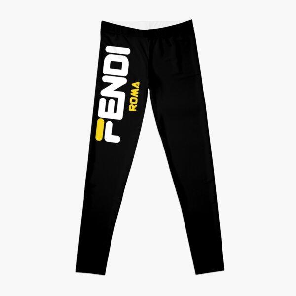 Fendi Roma Yellow Logo Leggings