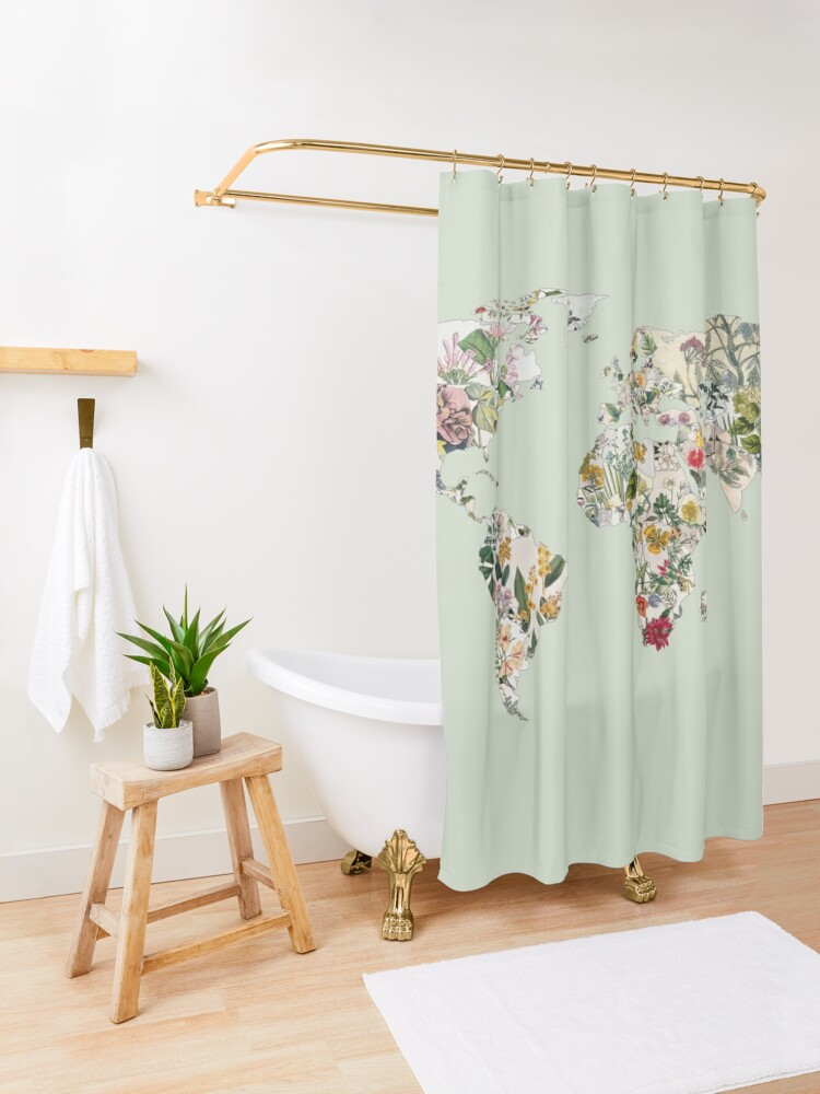 Alternate view of Vintage Botanical World Green Shower Curtain