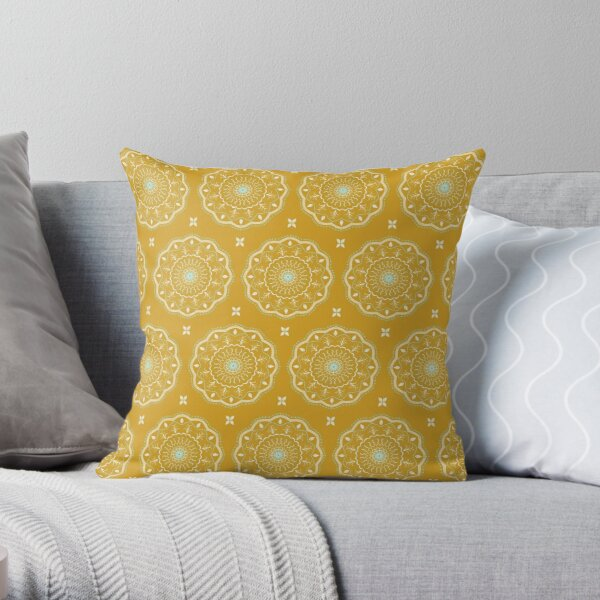 Yellow Mandalas Throw Pillow