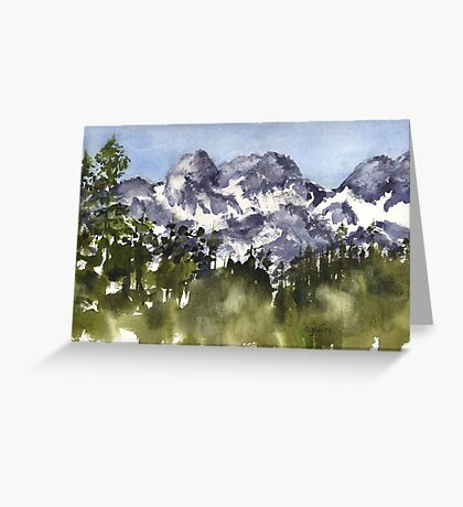 Mt Rainier peaks in Summer Greeting Card