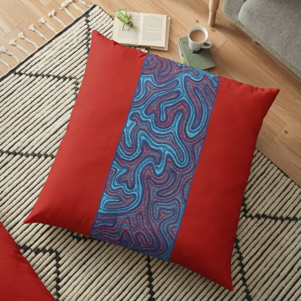 Stitches - Coral  (embroidery in blue and red) Floor Pillow