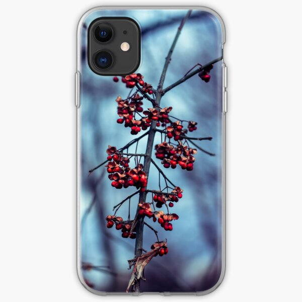 Red berries on a cold winters day iPhone Soft Case