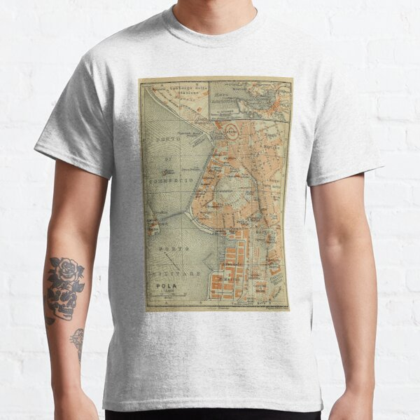 Vintage Pula Croatia Map (1911) Classic T-Shirt