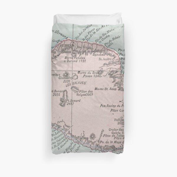 Carte de la Réunion d'époque (1901) Housse de couette