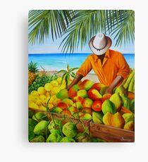 Manuel the Fruit Vendor at the Beach Canvas Print