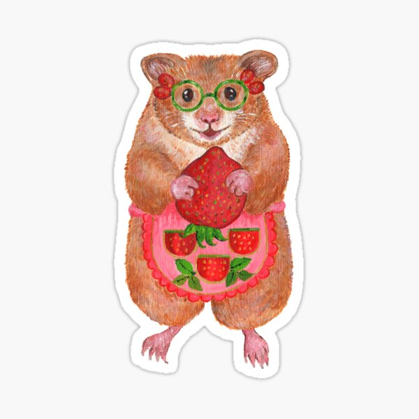 A Cute Hamster and a Strawberry Sticker