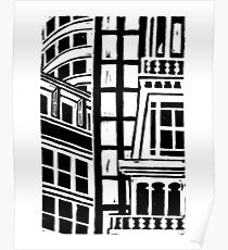 City Landscape Black and White Poster
