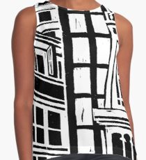 City Landscape Black and White Sleeveless Top