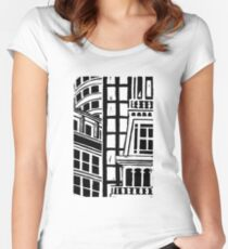 City Landscape Black and White Fitted Scoop T-Shirt