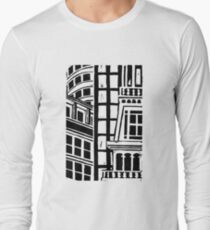 City Landscape Black and White Long Sleeve T-Shirt