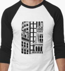 City Landscape Black and White Baseball ¾ Sleeve T-Shirt