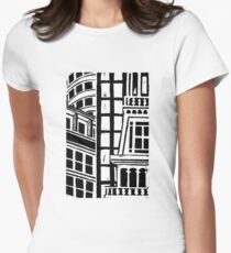 City Landscape Black and White Fitted T-Shirt