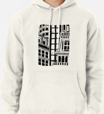 City Landscape Black and White Pullover Hoodie