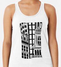 City Landscape Black and White Racerback Tank Top