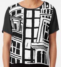 City Landscape Black and White Chiffon Top