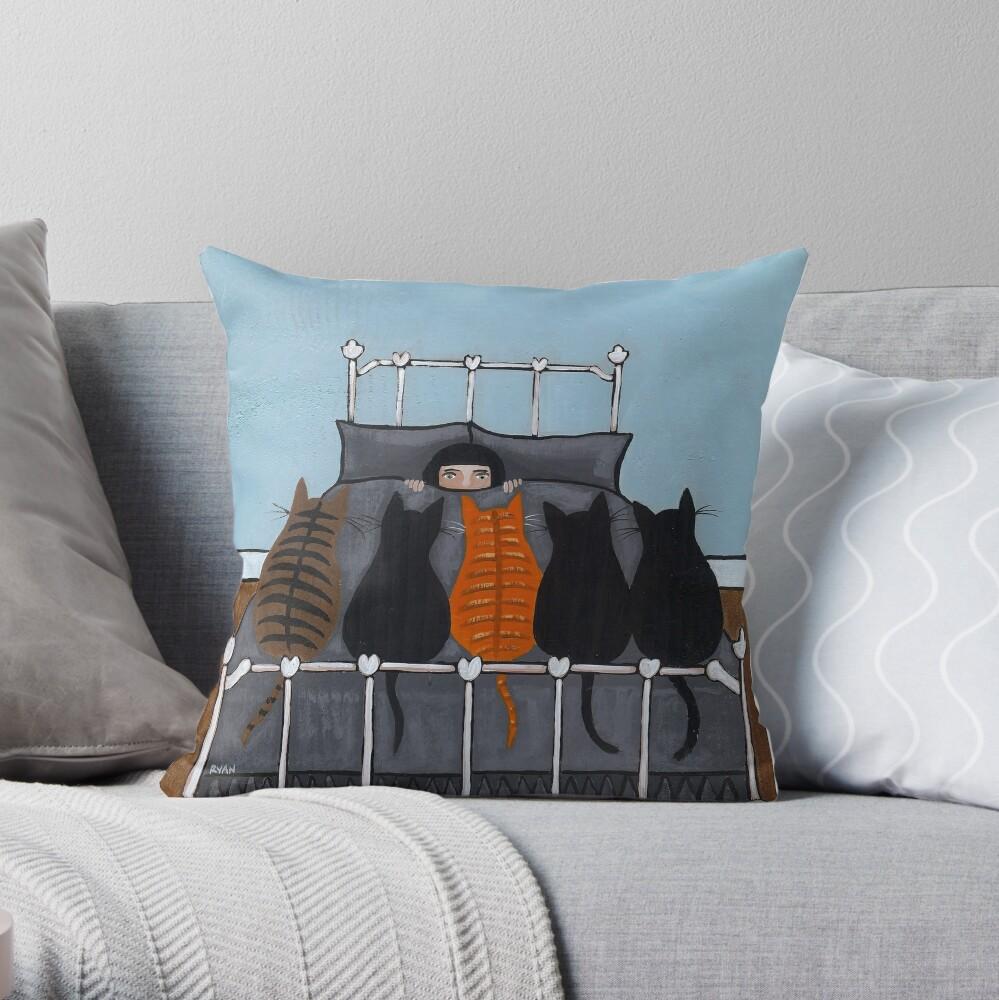 The Cat Alarm Throw Pillow