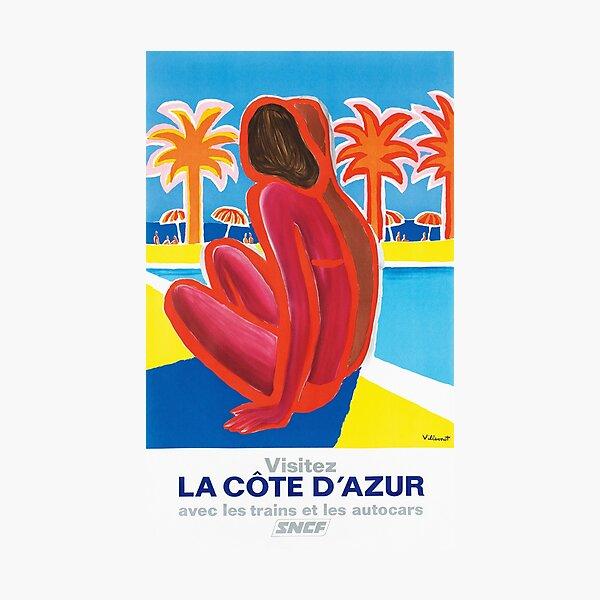 La Côte d'Azur - Vintage French Travel Poster Photographic Print