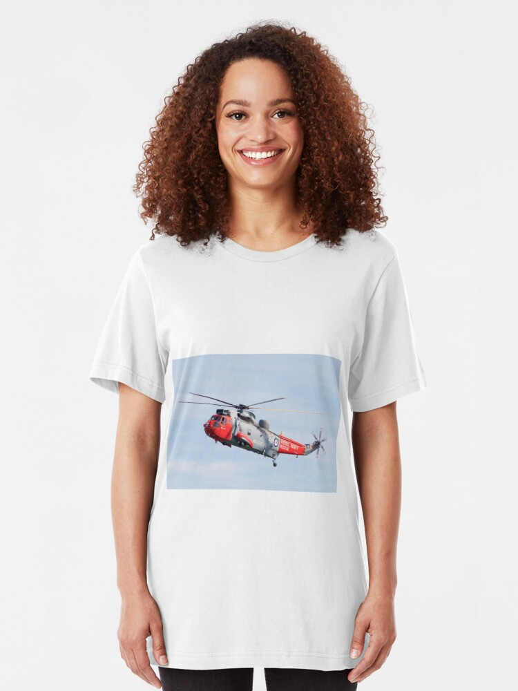 Alternate view of Royal Navy Sea King Rescue Helicopter Slim Fit T-Shirt