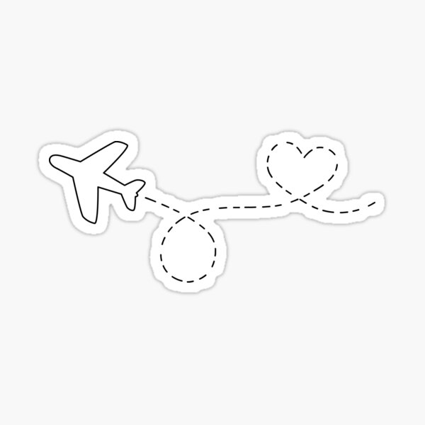 Airplane Heart Loop Sticker
