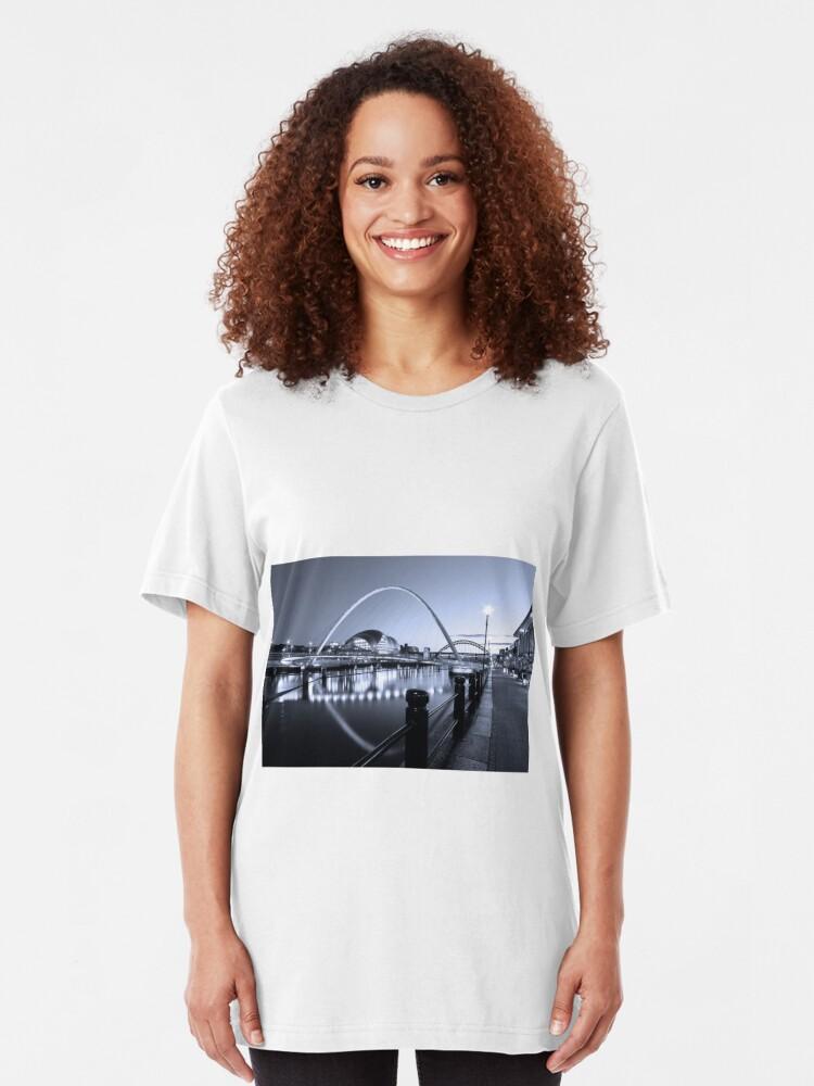 Alternate view of Newcastle Quayside and Millennium Bridge Slim Fit T-Shirt