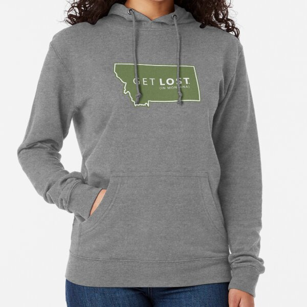 Get Lost in Montana MT State Decal Lightweight Hoodie