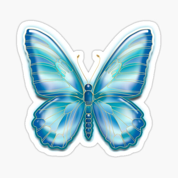 Turquoise Butterfly Sticker
