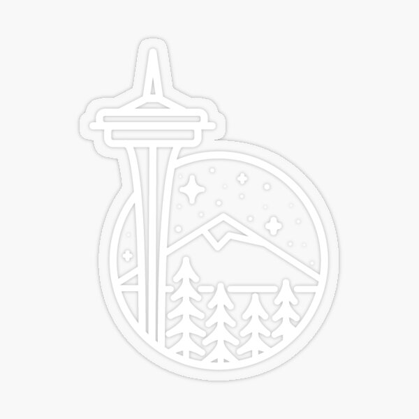 Seattle - White Transparent Transparent Sticker