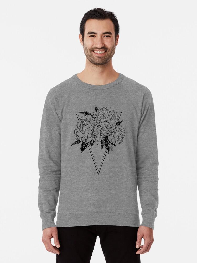 Alternate view of Cat Skull with Peonies - Black Line Lightweight Sweatshirt
