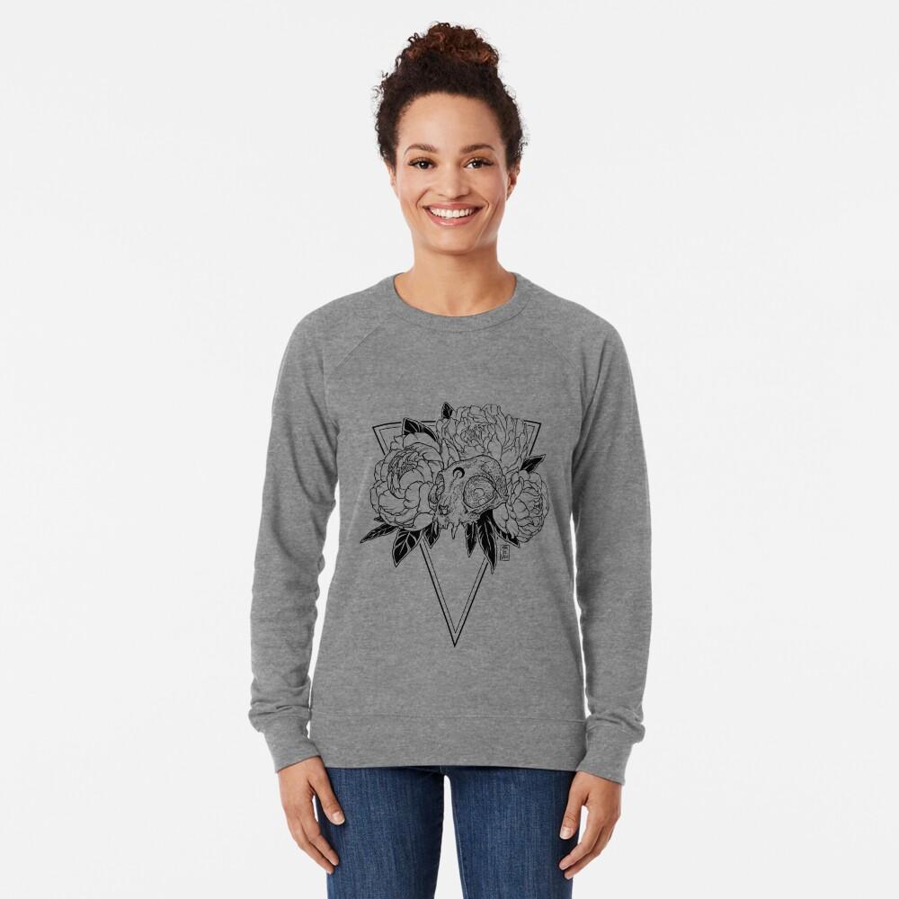Cat Skull with Peonies - Black Line Lightweight Sweatshirt