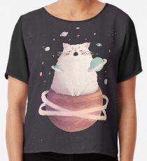 Yawning Space God Cat Chiffon Top