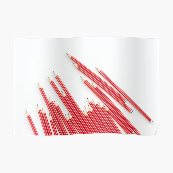 Sharp red HB pencils on white background Poster