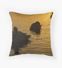 Sunset swans Throw Pillow