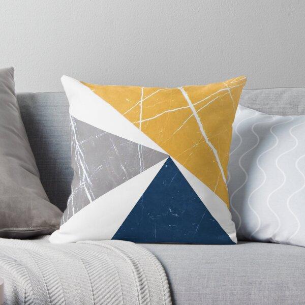 Abstrakte Muster-Dreiecke blau / gelb / grau Dekokissen