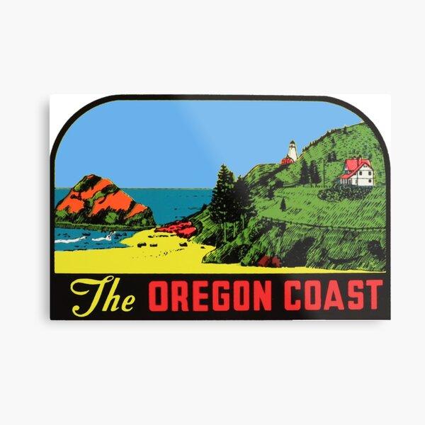 The Oregon Coast Vintage Travel Decal Metal Print