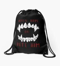 Kiss Him or Bite Him Drawstring Bag