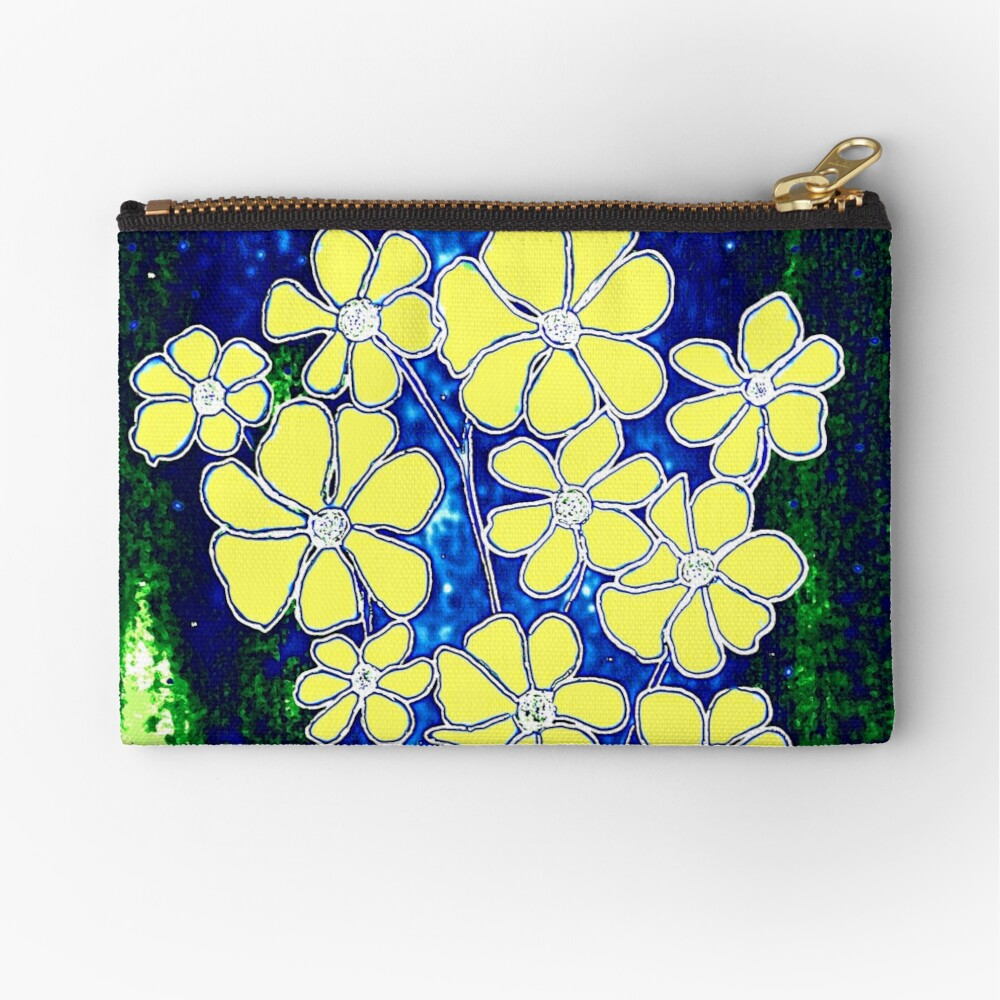 Flowers in Yellow Zipper Pouch