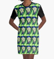 Flowers in Yellow Graphic T-Shirt Dress