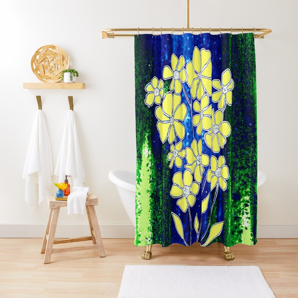 Flowers in Yellow Shower Curtain